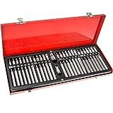 TecTake Bitsatz im Werkzeugkoffer für Inbus Schrauben Bits Torx Innen-Vielzahn Innen-6-kant aus Chrom-Vanadium Stahl - Diverse Modelle - (54 teilig | Nr. 402445)