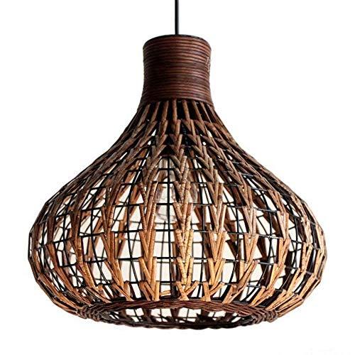 r Rattan-Kronleuchter - Hirtenwind Einfache lange Stirnlampe Rahmen Eisen Rattan kreative Restaurant Hotel Teehaus Lampe Kürbis (Color : Brown) ()
