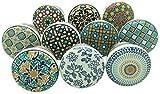 Juego de 10 pomos para puerta con diseño positivo Energy VI de cerámica, estilo vintage/shabby chic, para...