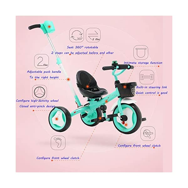 3 In 1 Kids' Trikes 18 Months To 6 Years 360° Swivelling Saddle Seat Can Be Adjusted Back Kids Tricycle Detachable And Adjustable Push Handle 3 Wheel Baby Bike Maximum Weight 25 Kg,Orange BGHKFF ★Material: High carbon steel frame, sturdy, lightweight, durable; suitable for children aged 1.5-6, maximum weight 25 kg ★ 3-in-1 multi-function: convertible into a trolley and a pedal tricycle. Remove the hand putter as a tricycle. ★Safety design: golden triangle structure, safe and stable; front wheel clutch, will not hit the baby's foot; 2 point seat belt 2