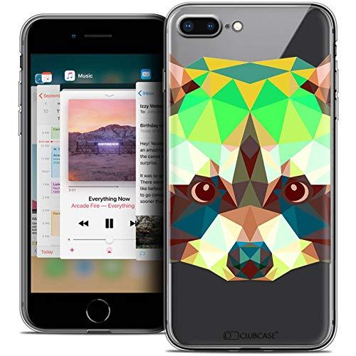 Caseink - Hülle Shutzhülle Back Case Apple iPhone 8 Plus (5.5) [Crystal Gel HD Sammlung Polygon Animals Design Raton Laveur - Flexibel - Ultra Fin - Auf Wunsch frisch in Frankreich gedruckt] - 4s Gel