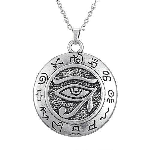 Collier avec pendentif motif égyptien - Argent - Style antique - Œil d'Horus - Symbole de protection