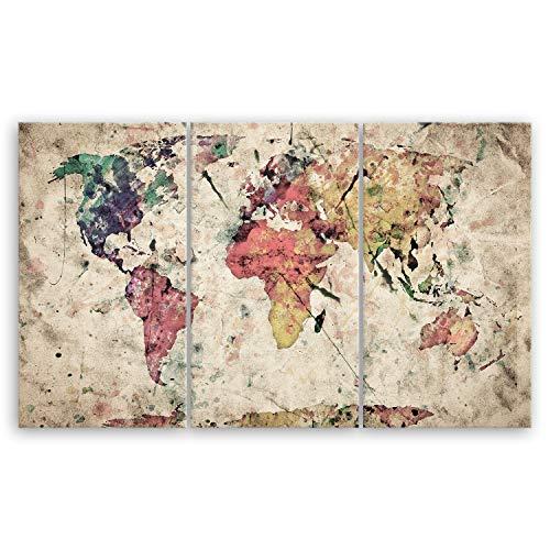 ge Bildet® hochwertiges Leinwandbild XXL - Weltkarte Retro in Vintage Deko - Abstrakt - 165 x 100 cm mehrteilig (3 teilig) 2202 B