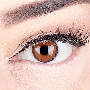 Braune Premium Kontaktlinsen 'Mirel Choco' Farbige Linsen Mit und Ohne Stärke Braun + Behälter von Glamlens, weiche 3-Monatslinsen im 2er Pack