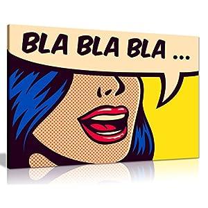 Kunstdruck Pop Art auf Leinwand, Motiv: Mädchen Bla Bla., A0 91x61cm (36x24in)