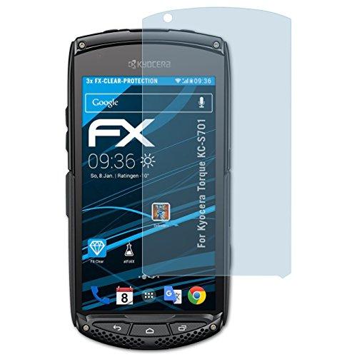 atFolix Schutzfolie kompatibel mit Kyocera Torque KC-S701 Folie, ultraklare FX Bildschirmschutzfolie (3X)