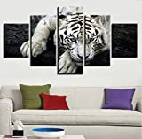 Wiwhy Modulare KunstPoster Hd Gedruckt 5 Stücke Weiß Tiger Tier Gemälde Dekor Für Wohnzimmer Wand Kunstwerk Bilder-20X35/45/55Cm