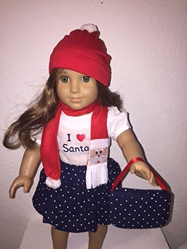 Unique Doll Clothing Doll Clothes- Five Piece Santa Ruffled Skirt Outfit for 18 Including The American Girl Line Doll by Unique Doll Clothing (Line Doll)