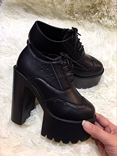LvYuan Frauen Fersen / Lackleder / Büro & Karriere / Plattform Chunky Ferse / Mode / Walking Lace-up Schuhe Black