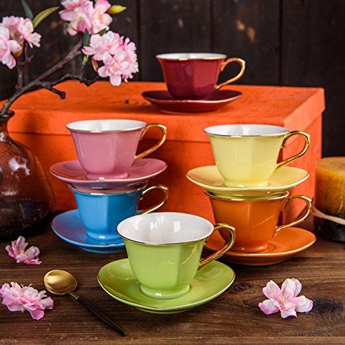 ARTVIGOR, 12 tlg. Set Porzellan Kaffeetassen 100 ml mit Untertassen, Bunt Kaffeeservice, Tee Set,...