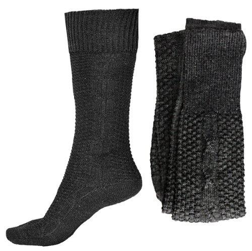 1 Paar Kniebundhosenstrümpfe mit Zopfmuster - Trachtensocken 43/46,Anthrazit