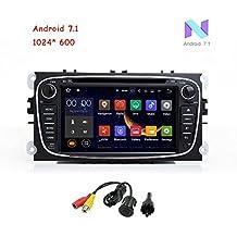 """freeauto para Ford Focus/Ford Mondeo/S-MAX/Galaxy/Focus 16GB Android 7.1Quad Core 7""""HD pantalla táctil estéreo de coche reproductor de DVD con GPS navegador con cámara trasera (negro)"""