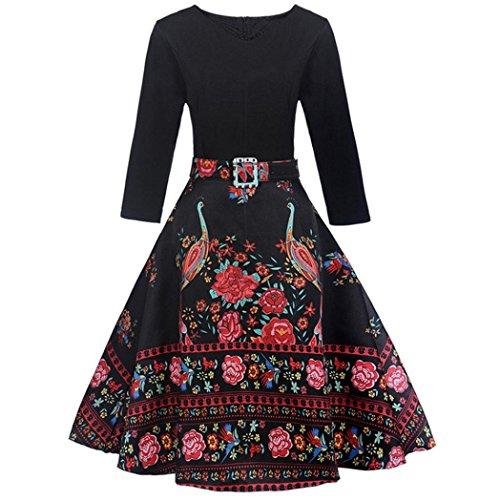 ZIYOU Damen Vintage Kleid, Frauen 3/4 Ärm Geblümt Abendkleider/Bunte Kleider/Retro Cocktailkleid...