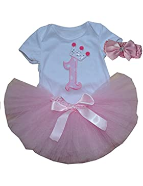 BabyPreg Baby Mädchen 3PCs Erster Geburtstag Onesie Tutu-Kleid Stirnband