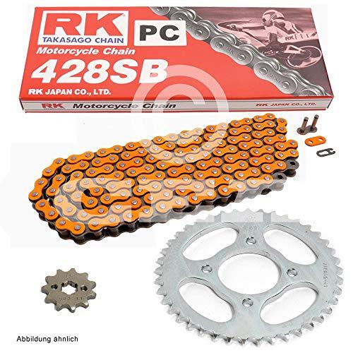 Kettensatz geeignet für Honda CBR 125 R 04-10 Kette RK PC 428 SB 124 offen ORANGE 15/42 -