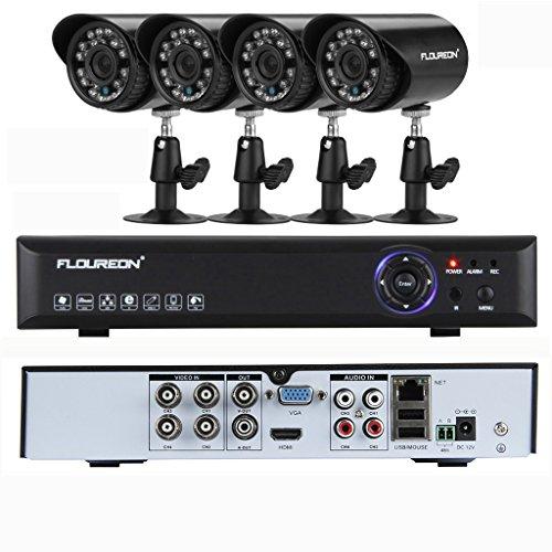 FLOUREON P4-D4A5008 CCTV DVR Serveillance Camera Kit - 4CH Onvif 960H DVR with 4pcs Outdoor 900TVL IR-CUT Security Camera (Support P2P Technology, Motion Detection amp; Remote View)