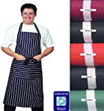 Best Quality, Large Striped Bib Apron with pocket, 100% Cotton *LONG TIES* Thick Material, Various Colours available (Navy Blue)By Dennys