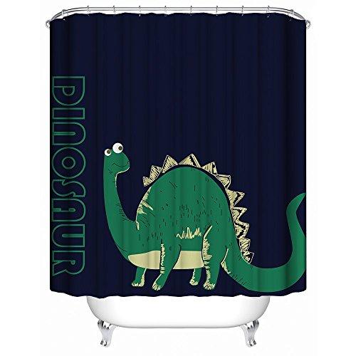 HUIYIYANG Home Bathroom Decorative Shower Bath Curtains,Cute Green Dinosaurs Cartoon Animal Pattern Print,100% Polyester Fabric Shower Curtain 60