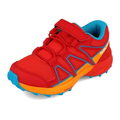 Salomon Kinder Speedcross Bungee Schuhe red marigold surf 35