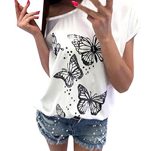 OVERDOSE Frauen Kurzarm Blumen Pumps Gedruckt Tops Strand Beiläufige Lose Bluse Top T-Shirt (EU-36/CN-S, X-b-Weiß) - Pailletten Seide Top