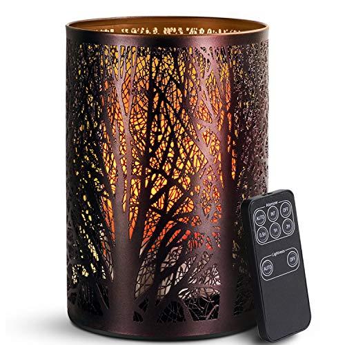 SALKING Aroma Diffuser, 3 in 1 Kerzenlicht Diffusor mit Fernbedienung, Metall Wald Diffusor für ätherische Öle, Automatisch Power-Off, Kerzenlichteffekt und Aromatherapie für Zuhause Oder Yoga MEHRWEG -