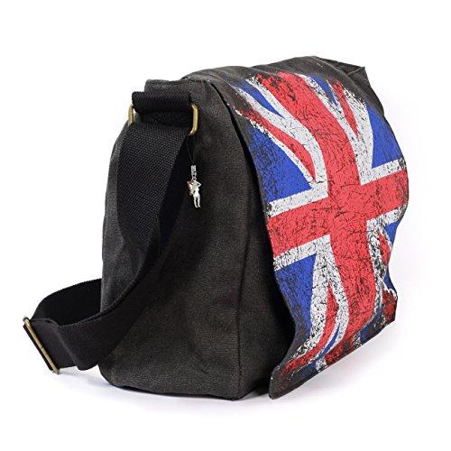 Umhänge- Crossbody Schultertasche London Wanted Motiv- Farbauswahl D4OTG200X schwarz (Union Jack)