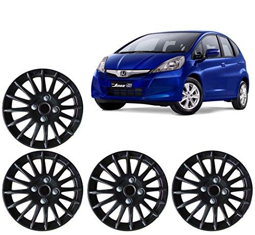Auto Pearl-Premium Quality Car Full Black Wheel Cover Caps Black 15 inches Press Type Fitting For -Honda Jazz
