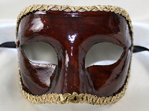 Herren Braun glänzend handgefertigt Traditionelle COLOMINA Half Face venezianische Masquerade Maske mit Gold geflochten Trim