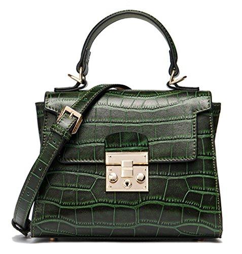 Xinmaoyuan Borse donna vera pelle Lady sacchetti spalla portatile Messenger coccodrillo Borsa Pattern,Nero Verde