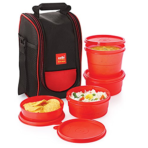 Cello Max Fresh Super Polypropylene Lunch Box Set, 225ml, 4-Pieces, Red