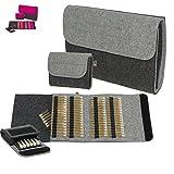 ebos Premium SET-Taschenapotheke | Globulitasche aus echtem Wollfilz | 64 Schlaufen für Globuli-Röhrchen + 6 Schlaufen | für Globuli-Röhrchen | Globuli-Etui zur Aufbewahrung von homöopathischer Hausapotheke | grau