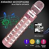 Bluetooth Karaoke Mikrofon, Batterie Mikrofon Kabellos Anlage für die Aufnahme von Gesang und Sprache als Lautsprecher für PC, Laptop, iPhone, iPod, iPad, Android Smartphones und als Party Karaoke Mikrofon (Rosegold)