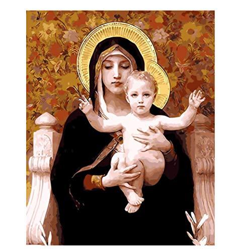 Con marco Decoración madre de dios Pintura al óleo cuadros Por números Imágenes digitales Colorear a mano Regalo único Decoración del hogar Virgen María 40x50cm