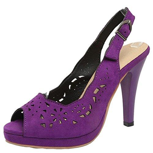 TAOFFEN Damen Fashion Peep-Toe High Trichterabsatz Sommer Sandalen Violett