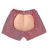 Agoky Herren sexy Boxershorts Retroshorts Lässig Lockere Unterwäsche mit gefälschtem Po Lustig Männer Unterhose Halloween Weinachten Karneval Kostüm Rot weiß gestreift One Size