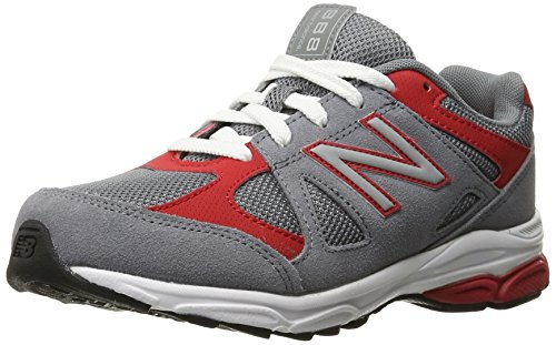 New Balance KJ888V1 Pre Running Shoe, Grey/Red,1 M Little Kid Grey/Red