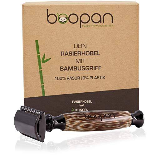 boopan® Premium Rasierhobel mit handgefertigtem Griff aus Bambus inkl. 5 Astra Klingen | Damen & Herren Nassrasierer Set für eine perfekte und sanfte Rasur | geschlossener Kamm | inkl. eBook