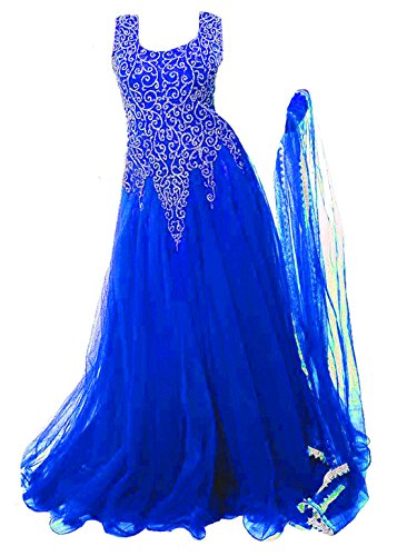 Clickedia Kids Heavy Net Embroidered Royal BlueFloor Length Gown - traditional wear ( 8-11 yrs)- Semi-Stitched alterable