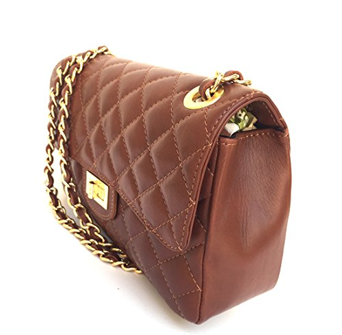 SUPERFLYBAGS Damen handtasche Schultertasche Echtes Leder Gesteppte Nappa model Parigi Classic Made in Italy Braun