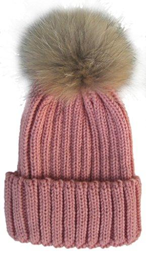 Frauen-Winter-Hut-warmer Hut Moderner Gestrickter Hut mit Pompon, Rosa (Rosa Pailletten Cowgirl Hut)