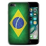 Stuff4 Coque Gel TPU de Coque pour Apple iPhone 7 / Brésil/brésilien Design/Drapeau Collection