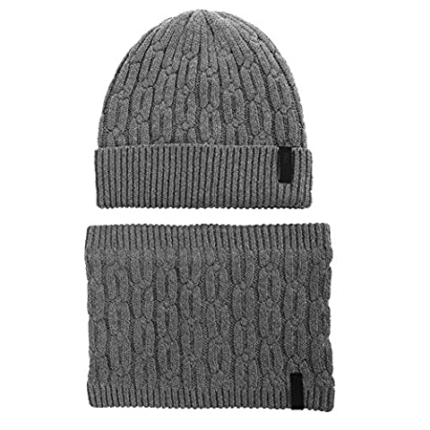 Wool Fleece Lined Beanie and Circle Scarf Winter Hats for Mens Womens Ski Hat Outdoor Sports Hat with Neck Gaiters Warmer Balaclavas SIGGI 55-60CM Grey