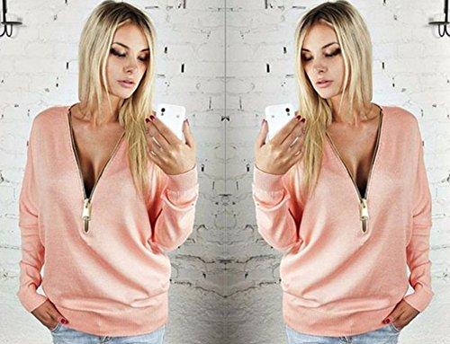 Fanessy Top Femme Chic Blouse Tunique Débardeur Femme Tee Shirt Sexy Court Manches Longues Tunika Femme Rose