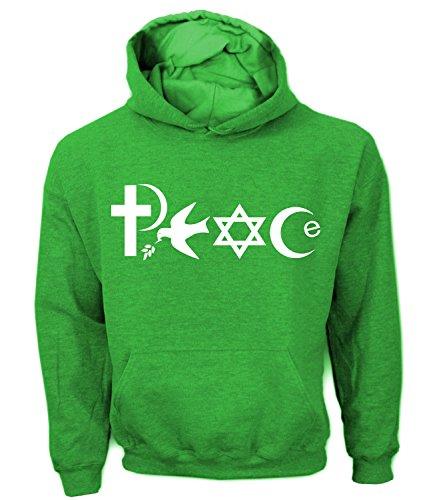 Artdiktat Herren Hoodie - PEACE - WORLD RELIGIONS, Größe XXL, grün