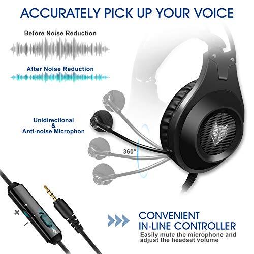 ELEGIANT Gaming Headset ps4, Gaming Kopfhörer Noise Cancelling Headphones Bügelkopfhörer mit Reiner Tonqualität Mikrofon 3,5mm Klinke für PS4 Pro/PS4 Xbox One PC Laptop Tablet Mac - 3