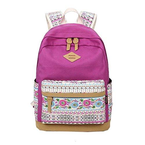 WanYang Retro Süße Frauen und Mädchen Rucksack Rose Drucken Schultasche Reisetasche Canvas Violett