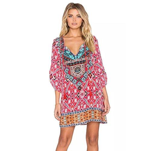 Print Beach Dress (Damen Kleider Xinan 3/4 Ärmel Geometrische Muster Vintage Print Lose Sommerkleid (XL, Hot Pink))