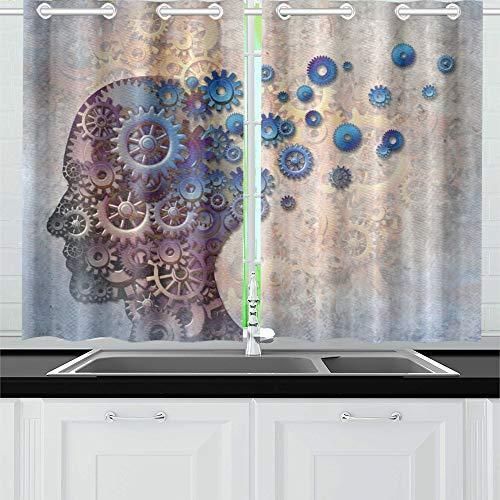 JOCHUAN Alzheimer Gedächtnisverlust aufgrund Demenz Gehirn Küchenvorhänge Fenster Vorhangebenen für Café, Bad, Wäscherei, Wohnzimmer Schlafzimmer 26 X 39 Zoll 2 Stück
