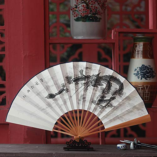 Drachen Kostüm Papier Chinesischer - XIAOHAIZI Handfächer,Sommer Chinesischen Stil Männer Bambus Fan Weiße Tinte Malerei Tier Drachen Vintage Fan Für Hauptwanddekoration Männer Geschenk Fan U-Bahn Faltfächer