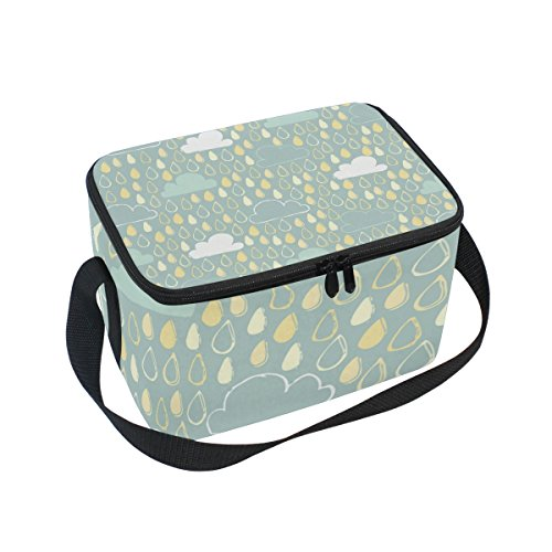 SKYDA Insulated Lunchpaket Box Rain Cloud Lunchpaket Bag for Men Women, Portable Tote Bag Cooler Bag for Work/School/Picnic (Rain Insulated Womens)